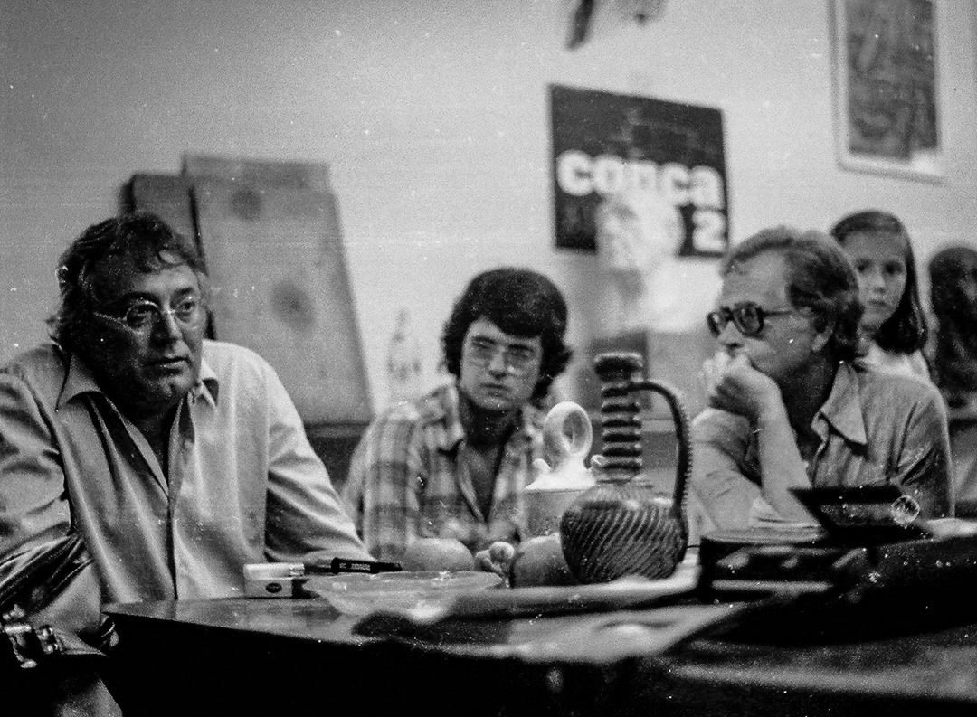 Con Mnuel Padorno. Escuela Luján Pérez. Las Palmas 1976